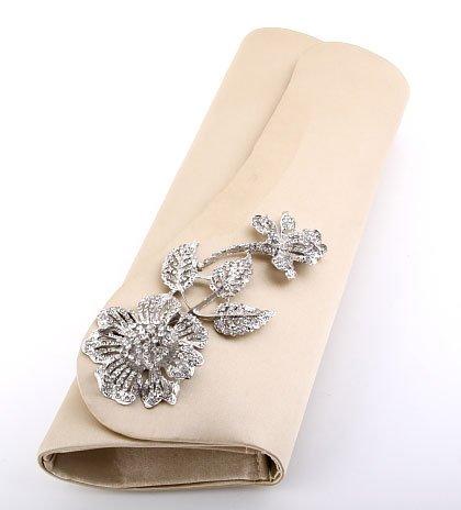 Gold Evening Satin Clutch Bag Austrian Crystal Rhinestone Flower On Front