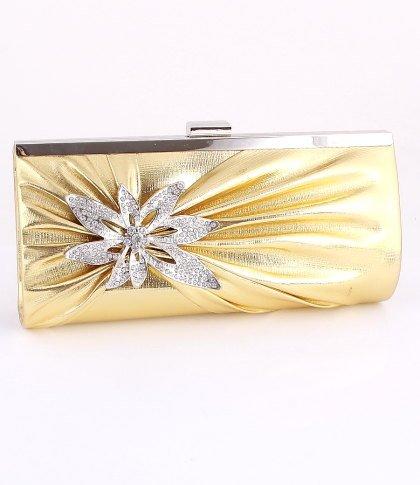 Gold Blossom Evening Clutch Bag Silver Tone Frame Austrian Crystal