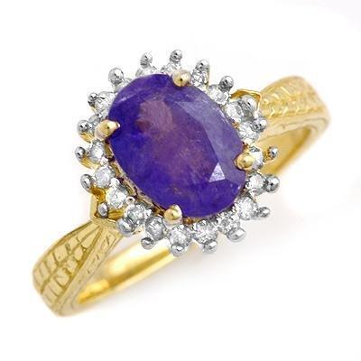 Certified-1.47ct Tanzanite & Diamond Ring Yellow Gold-Retail $1,480.00