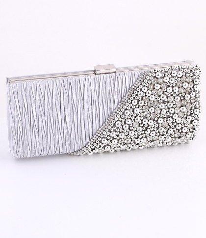 Silver - Evening Clutch Bag-Pearl-Crystal Rhinestone on Front Side-Satin