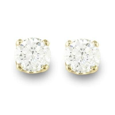 Certified Natural 0.25 ctw Diamond Stud Earrings 14K Yellow Gold