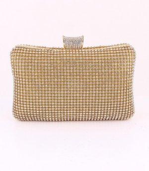 Gold High Quality Clutch Evening Bag Austrian Crystal Rhinestone on Both Sides