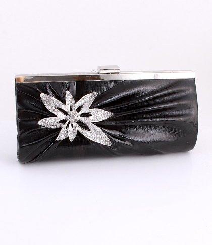 Black Blossom Evening Clutch Bag Silver Tone Frame Austrian Crystal