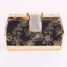 Flower Evening Bag-Metal Frame-Swarovski Crystal-Gold & Black