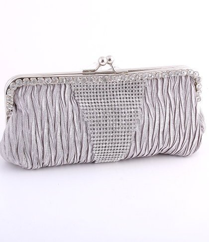 Gray - Kissing Lock Closure Evening Clutch Bag-Swarovski Crystal-Satin