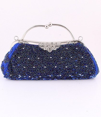 Blue Crytal Bead & Sequins Evening Bag - Silver Tone Frame