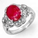 Certified-3.5 ctw Ruby & Diamond Ring White Gold-Retail $1,860.00
