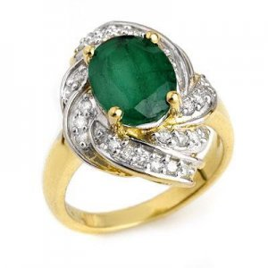 Certified-3.29 ctw Emerald & Diamond Ring 14K Yellow Gold-Retail $2,870