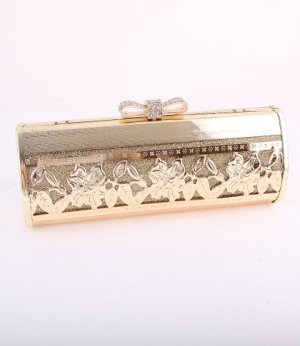 High End Quality Bow Gold Evening Bag-Austrian Rhinestones Crystal