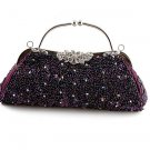 Purple Crytal Bead & Sequins Evening Bag - Silver Tone Frame