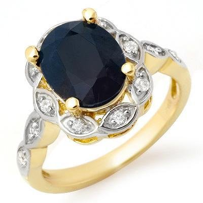 Certified-4.15 ctw Sapphire & Diamond Ring 14K Yellow Gold-Retail $1,790.00