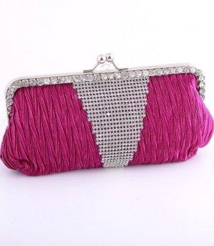 Purple - Kissing Lock Closure Evening Clutch Bag-Swarovski Crystal-Satin