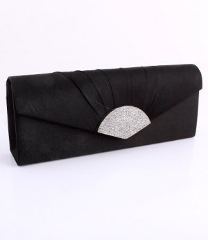Black Evening Satin Clutch Bag with Austrian Crystal Rhinestone Triangle