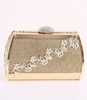 Gold Flower Evening Bag - Metal Frame-Swarovski Crystal