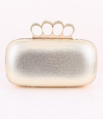 Leatherette Surface Evening Bag - Metal Frame - Swarovski Crystal - Gold