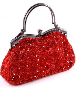 Red Glass Bead & Sequins Evening Bag - Silver Tone Antique Style Frame