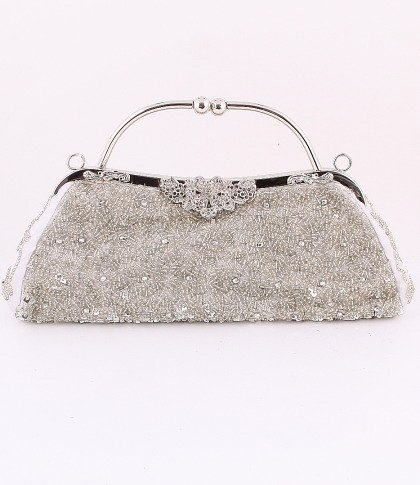 Silver Crytal Bead & Sequins Evening Bag - Silver Tone Frame