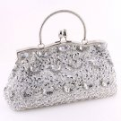 Silver Glass Bead & Sequins Evening Bag - Silver Tone Frame
