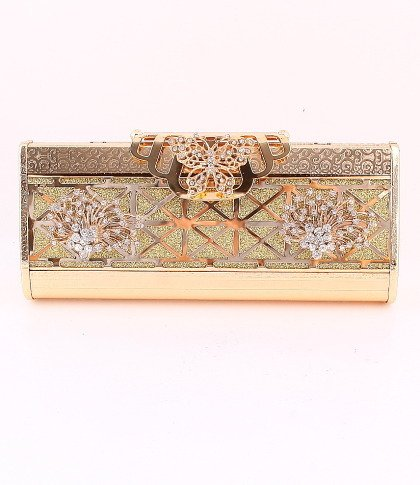 Butterfly & Flower High Quality Gold Evening Bag-Austrian Rhinestones Crystal