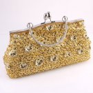 Gold Glass Bead & Sequins Evening Bag - Silver Tone Frame