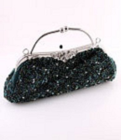 Green Crytal Bead & Sequins Evening Bag - Silver Tone Frame