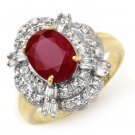 Certified-2.84 ctw Ruby & Diamond Ring 14K Yellow Gold-Retail $2,100.00
