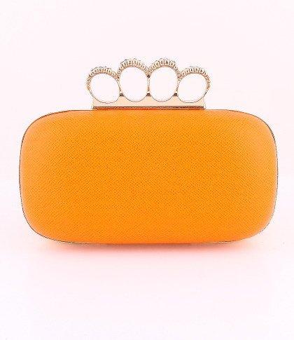 Leatherette Surface Evening Bag - Metal Frame - Swarovski Crystal - Orange