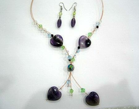 "17""-19"" Genuine Hearts of Amethyst Necklace & Earring Set"