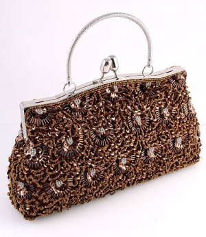 Brown Glass Bead & Sequins Evening Bag - Silver Tone Frame