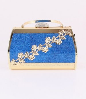 Blue Flower Evening Bag - Metal Frame-Swarovski Crystal