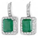 Certified 3.5 ctw Emerald & Diamond Earrings 14K White Gold