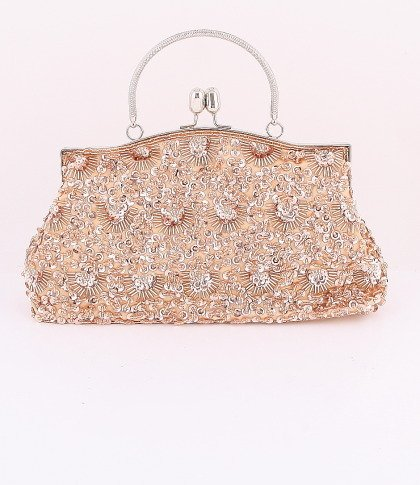 Champagne Glass Bead & Sequins Evening Bag - Silver Tone Frame