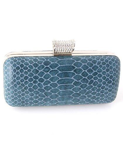 Python Evening Bag - Metal Frame - Swarovski Crystal - Blue
