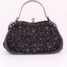 Purple Glass Bead & Sequins Evening Bag - Silver Tone Antique Style Frame