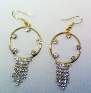 Incredible Set - Champagne CZ Glamour Gold Plated Ring Sz 8 & Dangle Earrings
