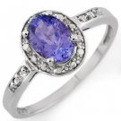 Certified-1.10ctw Tanzanite & Diamond Ring White Gold-Retail $820.00