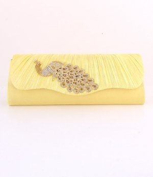 Gold Peacock Evening Clutch Bag with Austrian Crystal