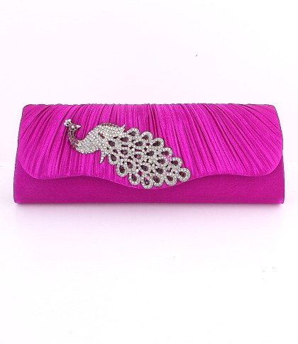 Purple Peacock Evening Clutch Bag with Austrian Crystal