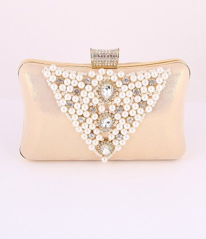 Gold - Evening Clutch Bag-Gold Metal Frame-Pearl-Crystal Rhinestone-Satin