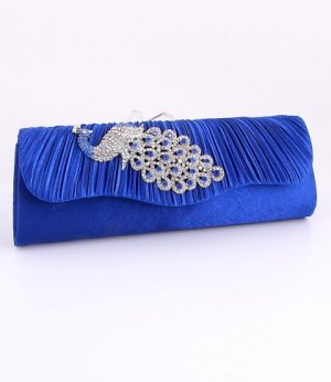 Blue Peacock Evening Clutch Bag with Austrian Crystal