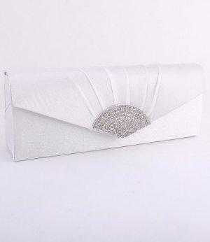 Ivory Evening Satin Clutch Bag with Austrian Crystal Rhinestone Triangle