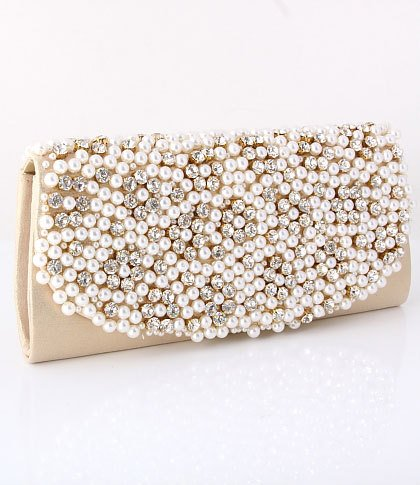 Gold Evening Clutch Bag - Pearl & Rhinestone On The Front