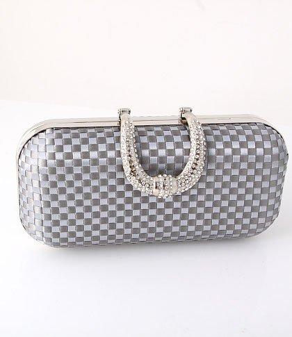 Dazzling Evening Clutch Bag Gray-Silver - Silver Tone Frame Swarovski Crystal