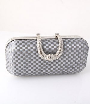 Dazzling Evening Clutch Bag Gray-Silver - Silver Tone Frame Swarovski Crystal