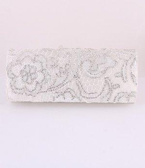 Evening Satin Clutch Bag Embroider Flower w/ Austrian Crystal Rhinestone-White