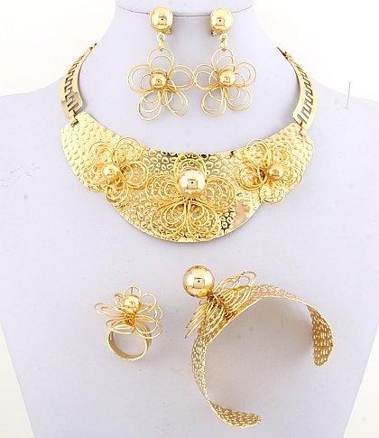 22k Gold Plated Necklace, Bracelet, Earring & Ring Set - No 30