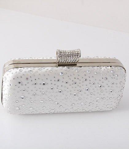 Glitter Silver Evening Clutch Bag Silver Tone Frame Austrian Crystal