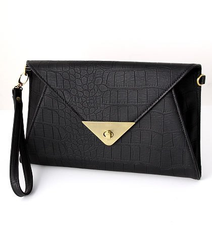 Sophisticated Black Leather Evening Clutch Hand Bag
