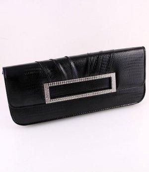 Faux Leather Evening Clutch Bag Austrian Rhinestones Crystal-Black