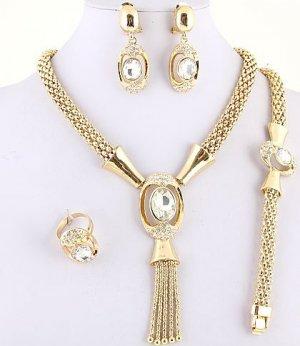 Royal 18k Gold Plated Necklace, Bracelet, Earring & Ring Set w/ Rhinestone